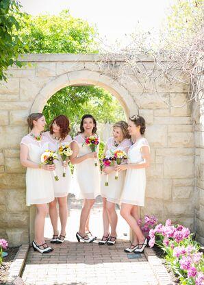 White Knee-Length Bridesmaid Dresses