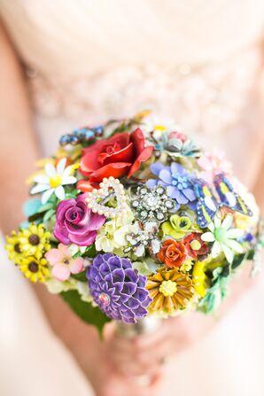DIY Colorful Vintage Broach Bridal Bouquet
