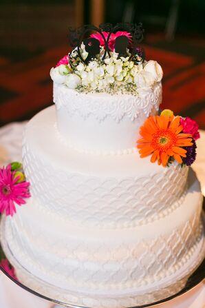 Three-Tier White Fondant Wedding Cake