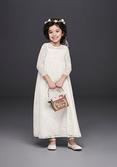 David's Bridal Flower Girl WG1387 White Flower Girl Dress