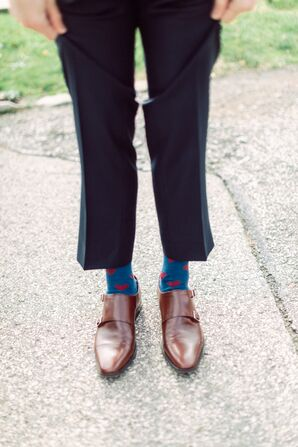 Whimsical Blue and Red Heart Socks
