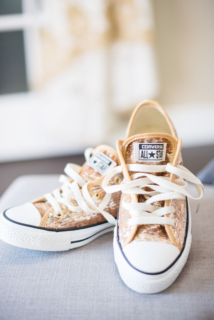 For the reception at the couple's home, Jessica changed from her Christian Louboutin heels into gold-sequined Converse All-Stars from Germany.