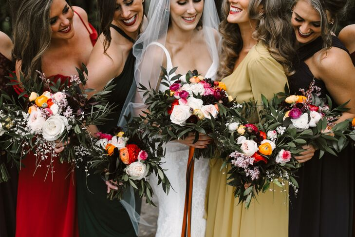 Jewel Tone Bouquets with Roses, Peonies and Ranunculus