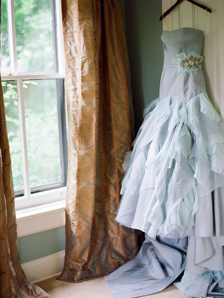 Pastel blue wedding gown by Tara LaTour