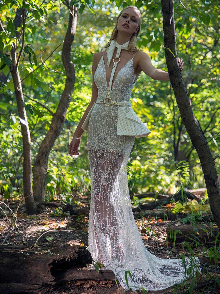 Persy Fall/Winter 2018 beaded wedding dress with corset-inspired peplum