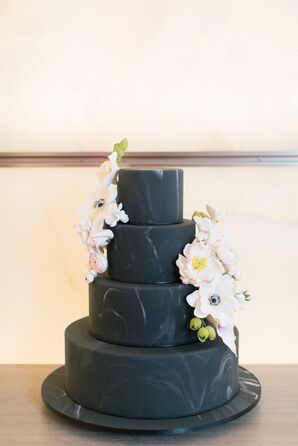 Black Marble Cake with Anemones