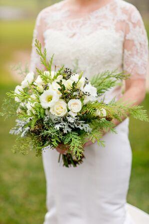 Wintry Fir and Rose Bouquet