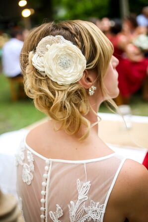 Fabric Floral Hair Accessories with Crystal Detail