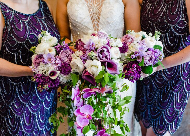 Cascading Purple Orchid and Calla Lily Bouquet