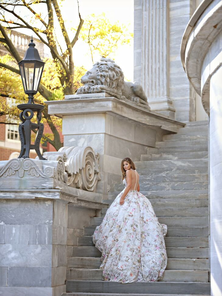 Elegant Bride with Floral Ball Gown and Down Hairstyle in Philadelphia