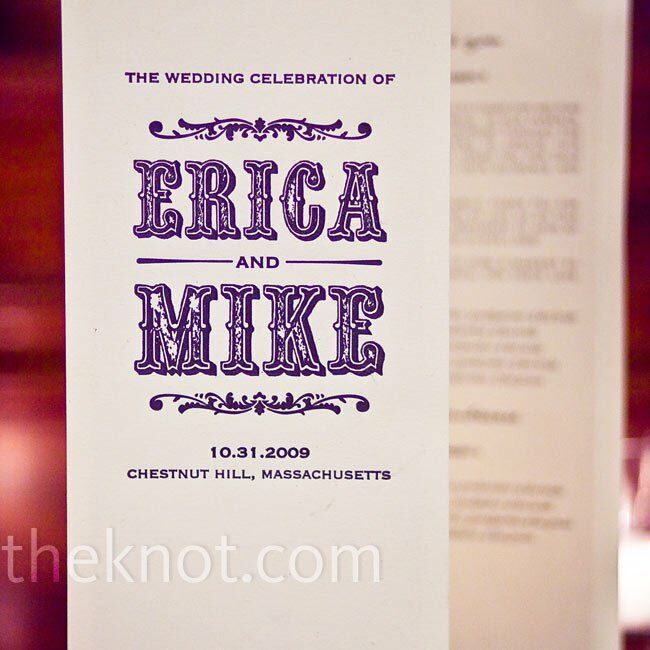 Erica and Mike designed their own programs, using a black Gothic-vintage font.