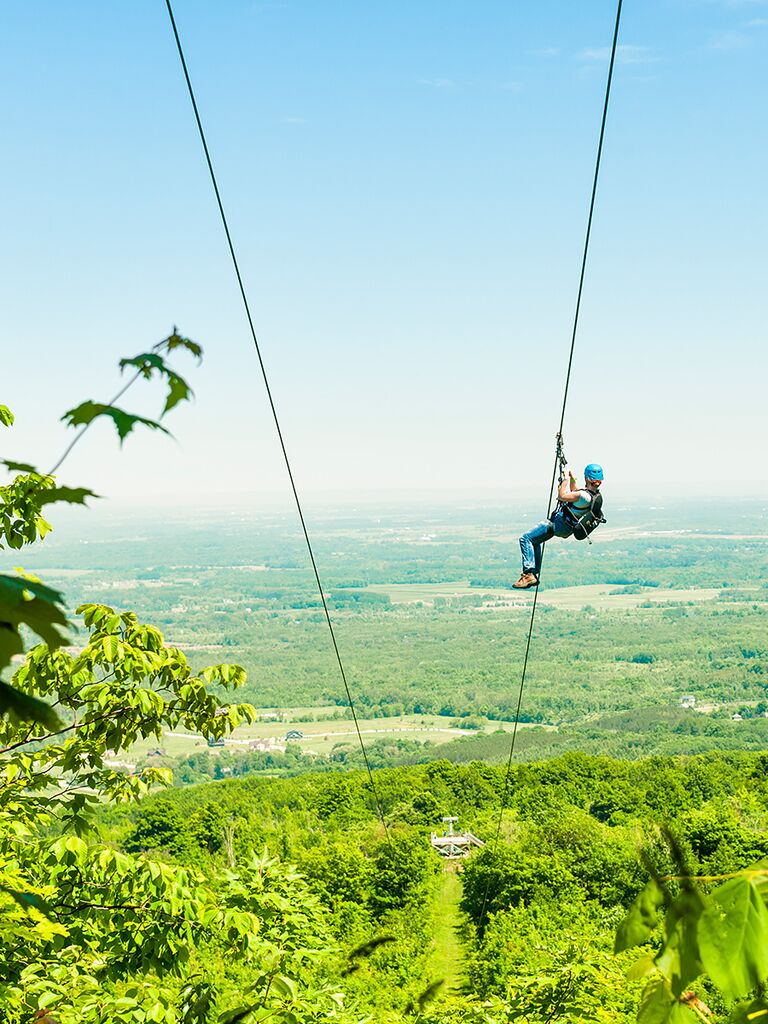 fun zip-line adventure for an off-beat bachelorette party idea