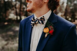 Whimsical Striped Bow Tie and Bright Boutonniere