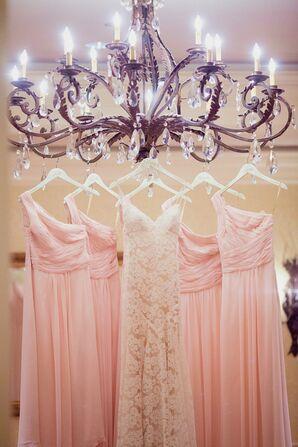 Blush One-Shoulder Bridesmaid Dresses on Chandelier