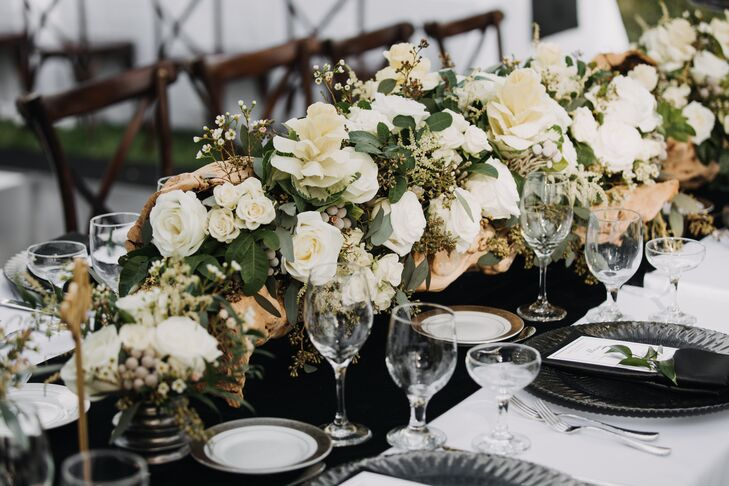 Ivory Rose, Waxflower and Driftwood Centerpiece
