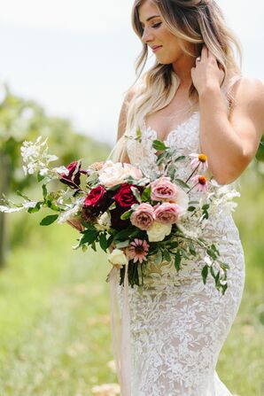 Hand-Tied Rose, Queen Anne's Lace and Purple Coneflower Bouquet