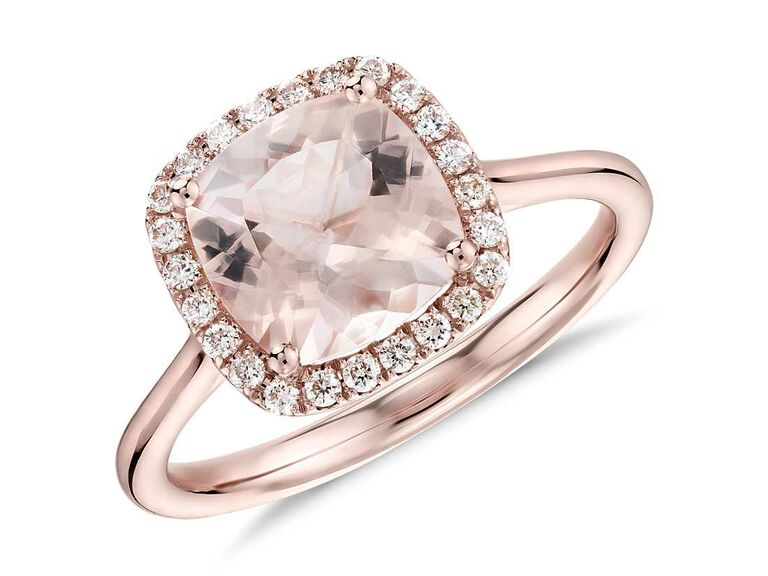 Morganite cushion-cut engagement ring in rose gold halo