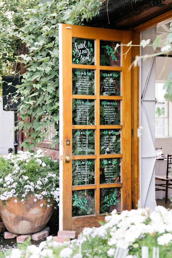 Hand-Lettered Window Glass Seating Chart