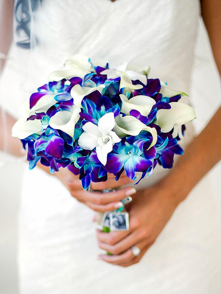 Blue and white wedding bouquet with calla lilies and orchid wedding bouquet