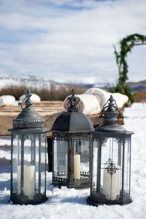 Black Iron Lanterns With Pillar Candles