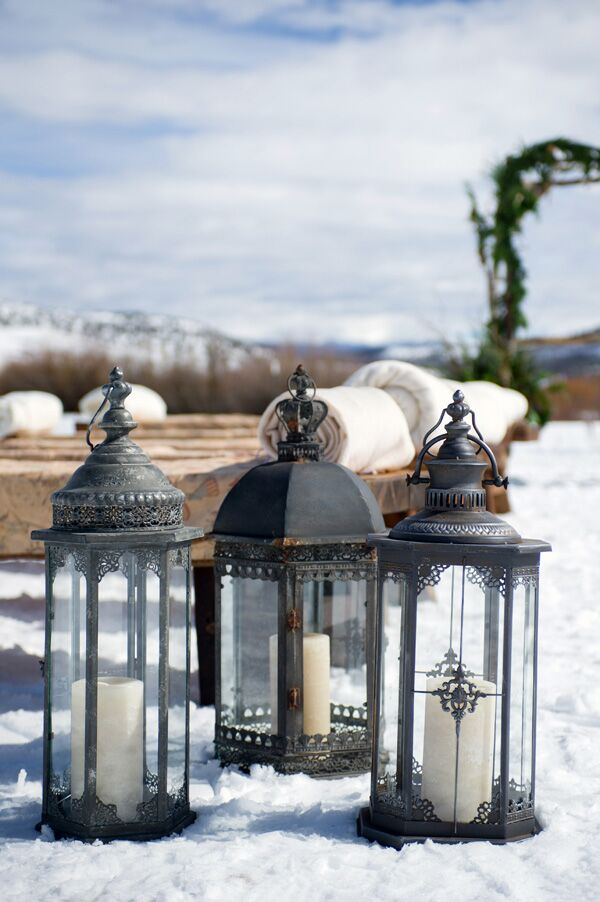 Black Iron Lanterns With Pillar Candles