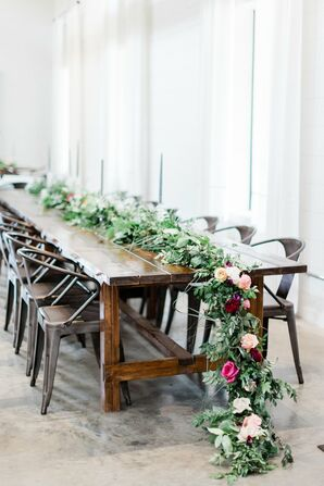 Greenery and Pink Rose Table Garland