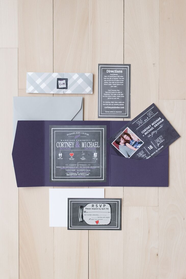 The groom designed the invitations himself using a mixture of elements that the couple liked in preprinted invitations that they have previously seen.