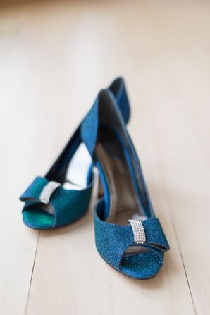 Blue Peep-Toe Heels with Bow Detail