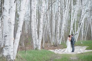 Cortney and Mike Under Birch Trees