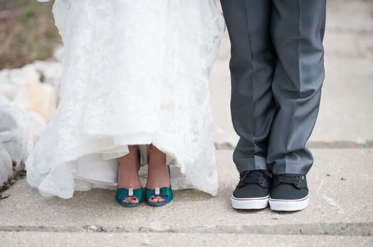 Blue Wedding Shoes and Black Sneakers
