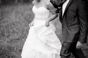 Strapless White Maggie Sottero Wedding Dress with Sweetheart Neckline