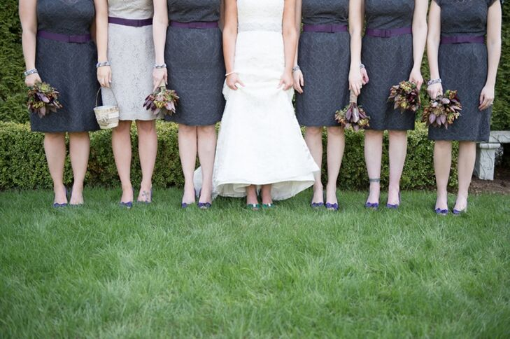 Charcoal Gray Bridesmaid Dresses with Purple Detail