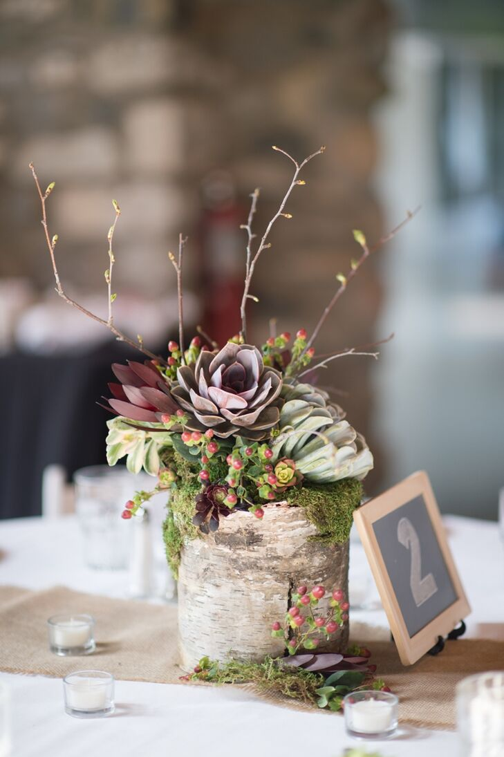 The rustic centerpieces were a mix of succulents and branches paired with a single birch wood log.