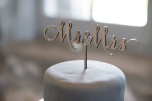Silver Mr. and Mrs. Wedding Cake Topper