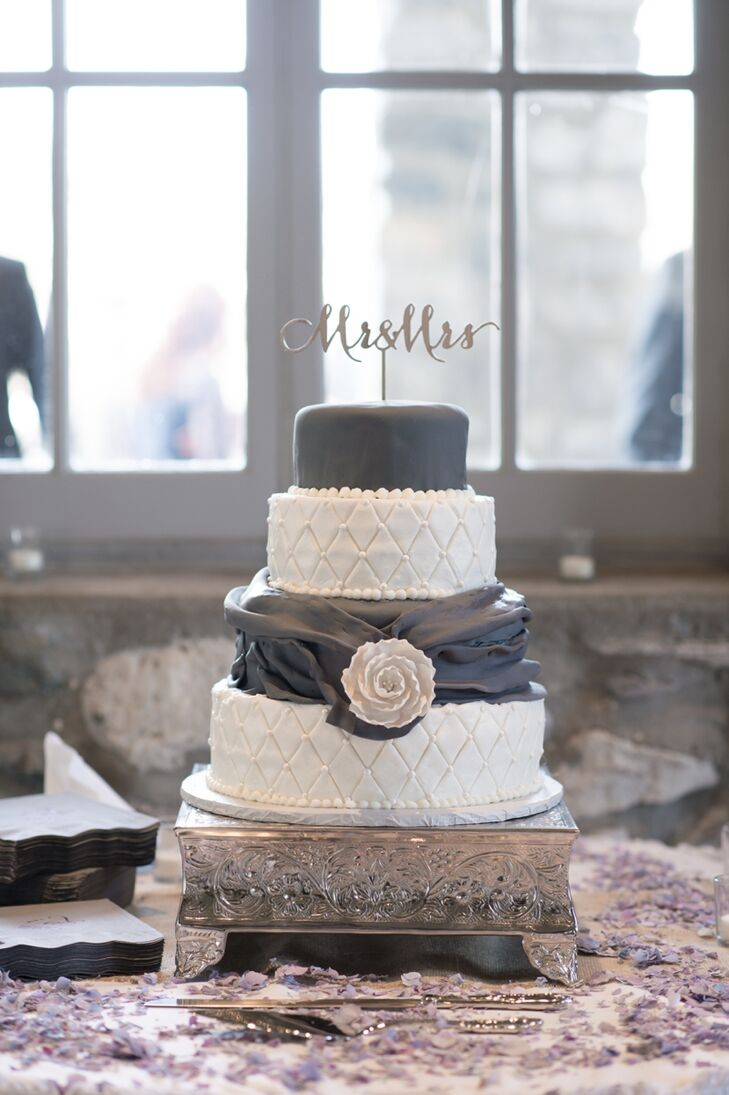 Four-Tier Gray and White Wedding Cake with Topper