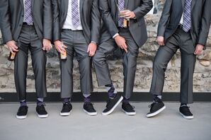 Gray Groomsmen Suits with Black Shoes