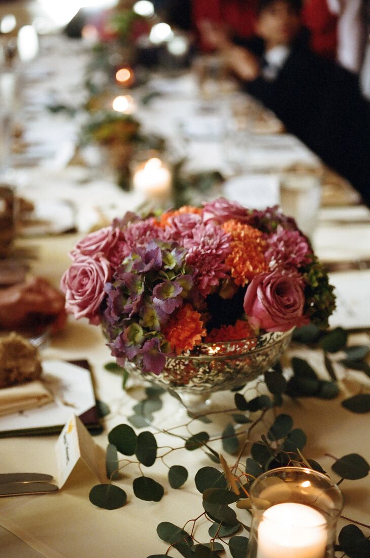 The reception was decorated in darker hues of the spring colors seen at the ceremony. The restaurant provided a romantic vibe that was both classy and elegant.