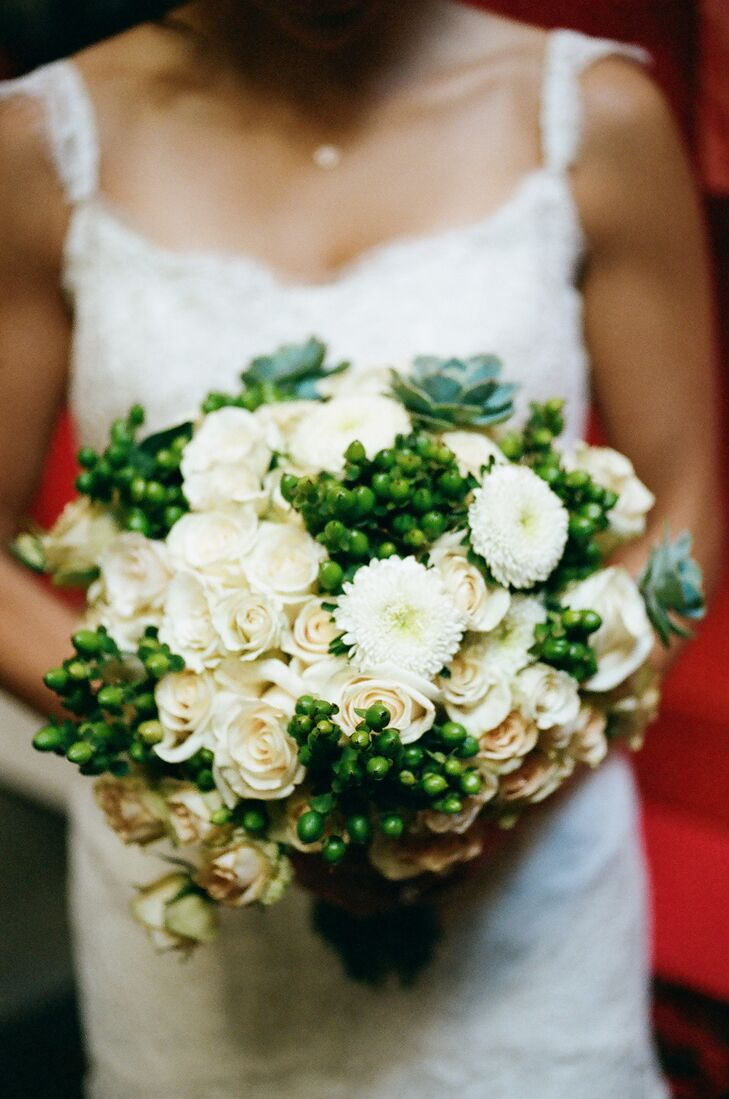 Mona stuck with a classic bouquet of white and ivory to add to the timeless look of her gown. The bright greens popped against the colors of the venue and brought a Spring feel to her wedding day look.