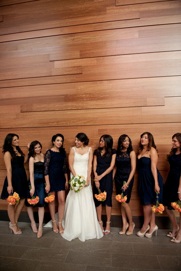 Rather than choose one dress for all of her bridesmaids, Mona gave them a swatch of the color she'd like them to wear and allowed each bridesmaid to choose a dress she felt comfortable in.