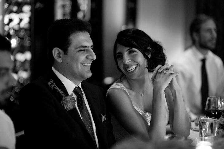 The Bride and Groom Sharing a Laugh