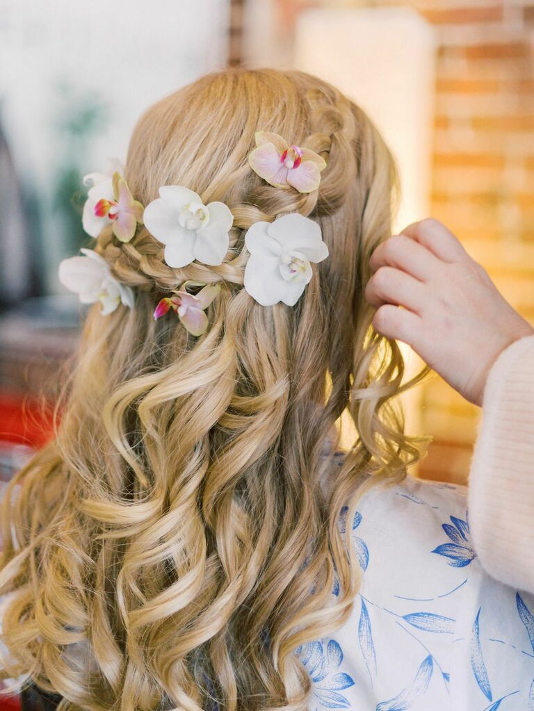 beach wedding hairstyles half up with braids and orchids
