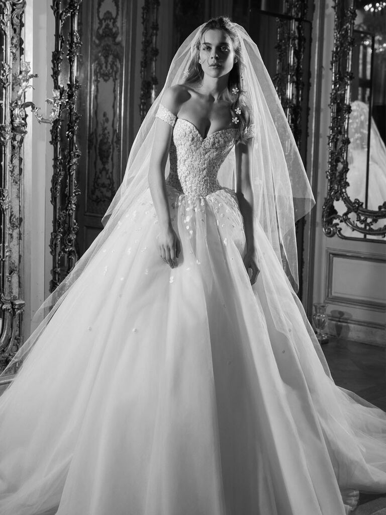 acf04a9ed3b Elie Saab Spring 2019 off-the-shoulder ball gown wedding dress with beaded  bodice