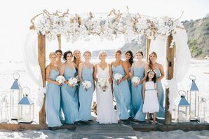 Beach Wedding With Blue Bridesmaid Dresses