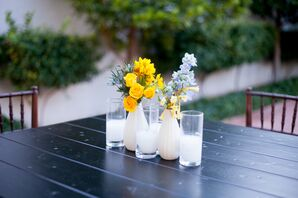 Gold Floral Centerpieces with Candles at Historic Fifth Street School