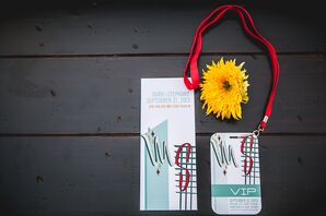 Retro Red and Turquoise Las Vegas Stationery
