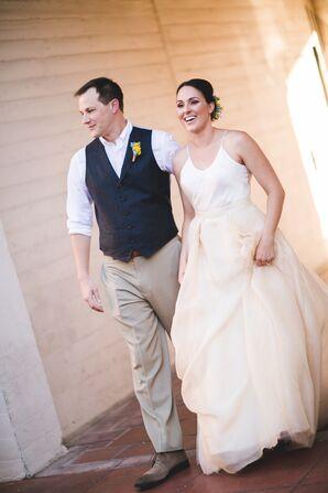 Custom White Camisole Peach Organza Wedding Dress