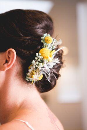 Craspedia and Thistle Bridal Hair Accessory