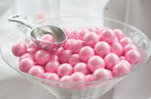Glass Bowl of Pink Candies