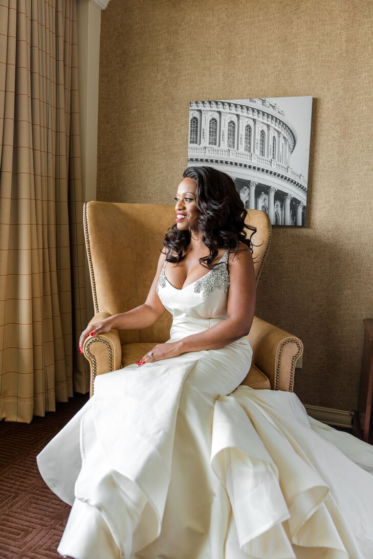 Formal Bride in Crystal-Studded Wedding Gown