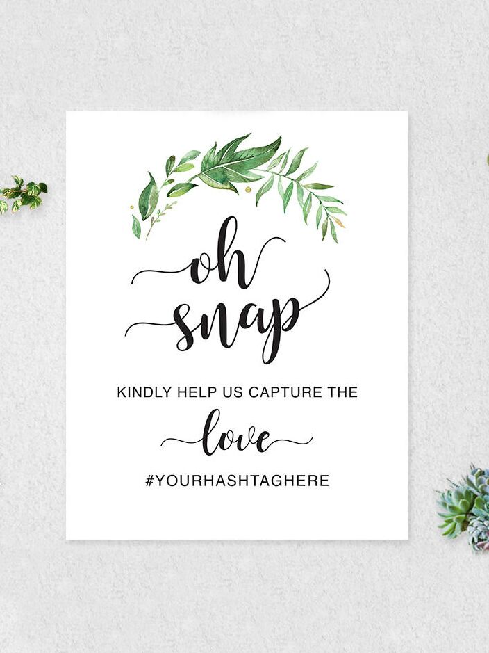 printable hashtag sign for a bridal shower or wedding